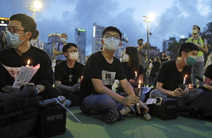 Participants at vigil commemorating 1989 Tiananmen Square Massacre