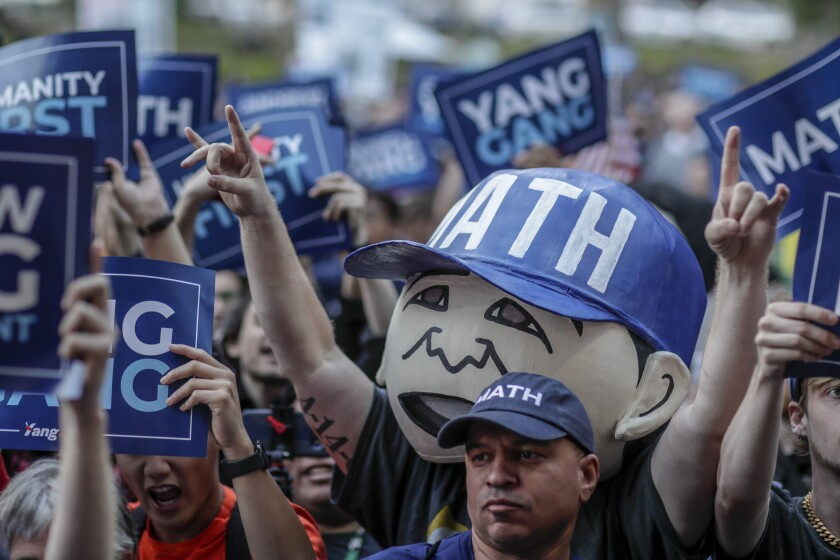 Supporters attend a campaign rally in MacArthur Park for Andrew Yang