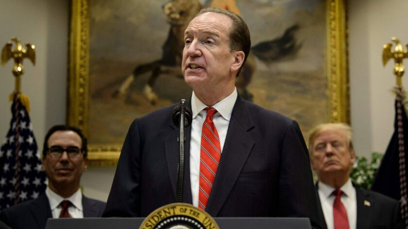 David Malpass, shown Feb. 6, was nominated for the World Bank post by President Trump. The senior U.S. Treasury official had been sharply critical of China and called for a shakeup of the global economic order.