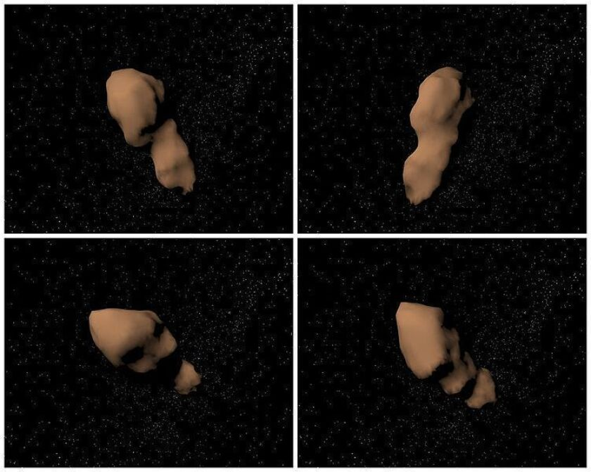 """These four views of the (4179) Toutatis computer model show shallow craters, linear ridges and a deep topographic """"neck"""" whose geologic origin is not known. It may have been sculpted by impacts into a single, coherent body, or this asteroid might actually consist of two separate objects that came together in a gentle collision. Toutatis is about 4.6 kilometers (3 miles) long."""