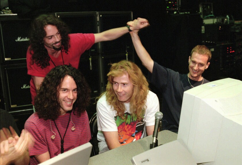 Megadeth drummer Nick Menza, back left, with other members of the band in 1997. From left: guitarist Marty Friedman, singer and guitarist Dave Mustaine and bassist David Ellefson.