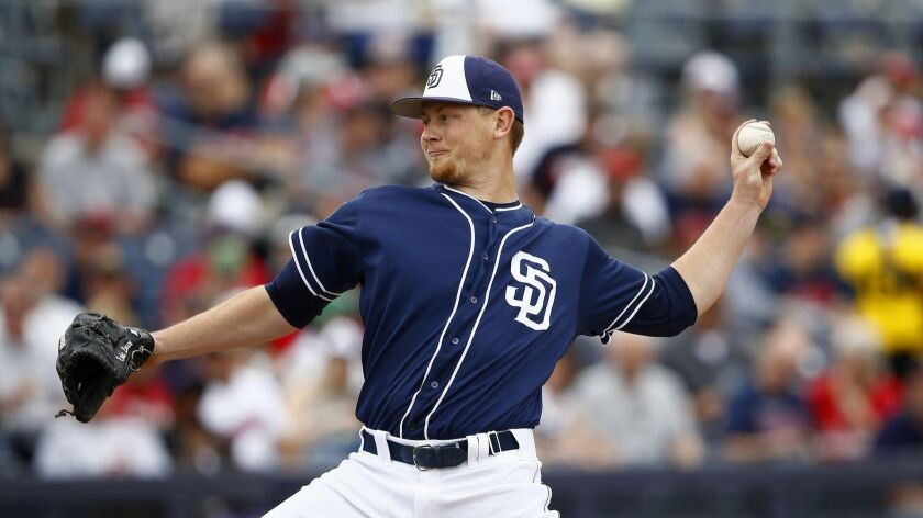 San Diego Padres starting pitcher Eric Lauer throws against the Cleveland Indians during the first i