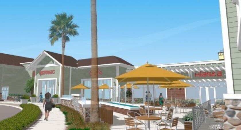 A plaza view rendering of the upgraded Del Mar Heights Village shopping center, now called Beachside Del Mar.