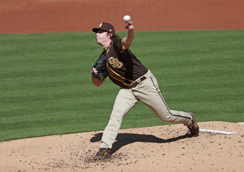 Ryan Weathers throws against the Arizona Diamondbacks on March 2.