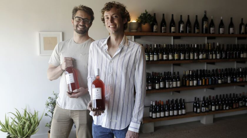 LOS ANGELES, CA-MARCH 25, 2019: Winemaker Niccolo Coturri, right, is photographed with his business