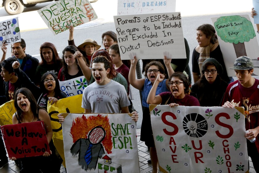 In front of L.A. Unified headquarters last week, students protest the possible closure of the Academy of Environmental and Social Policy in Boyle Heights.
