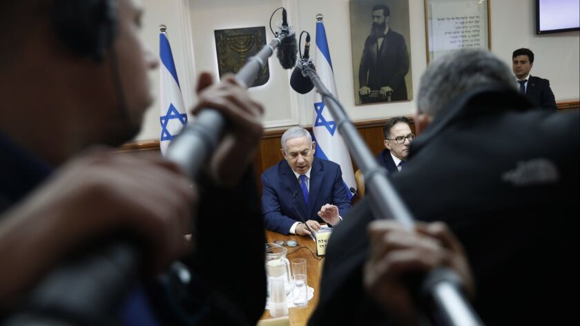 Benjamin Netanyahu chairs the weekly cabinet meeting in Jerusalem on March 3.