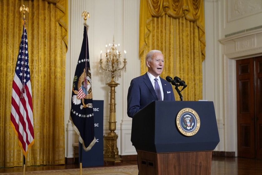 President Biden speaks during a virtual event with the Munich Security Conference.