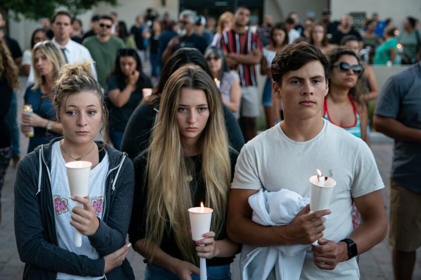 Candlelight vigil at Gilroy City Hall.