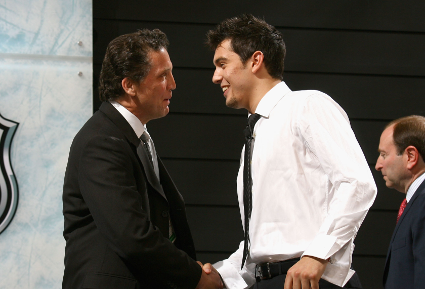 Drew Doughty shakes hands with Kings general manager Dean Lombardi at the 2008 NHL draft.