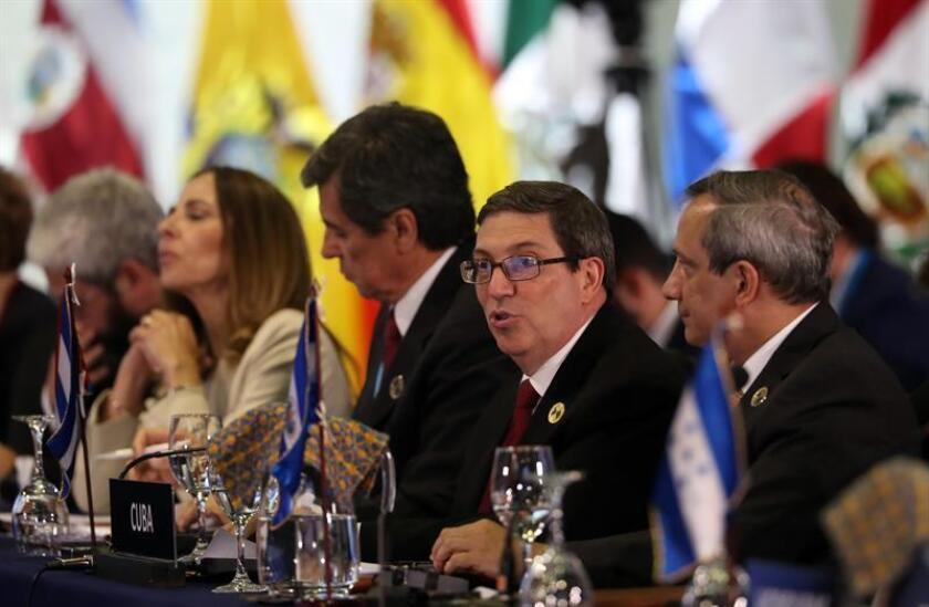 El ministro de Relaciones Exteriores de Cuba, Bruno Rodríguez, pronuncia un discurso en la sesión plenaria de jefes de estado en la XXVI Cumbre Iberoamericana, hoy, en Antigua, Guatemala. EFE