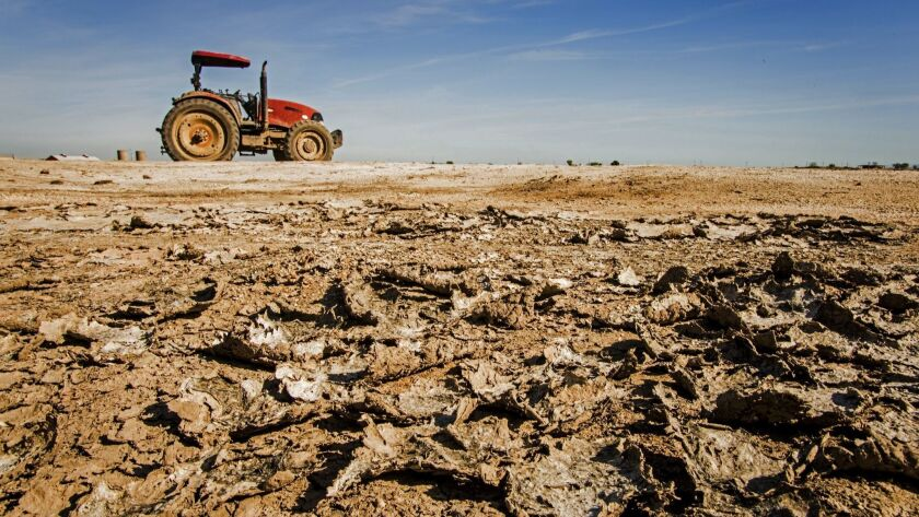 Old tractor parked on dry sandy soil, San Joaquin River Basin, California, USA