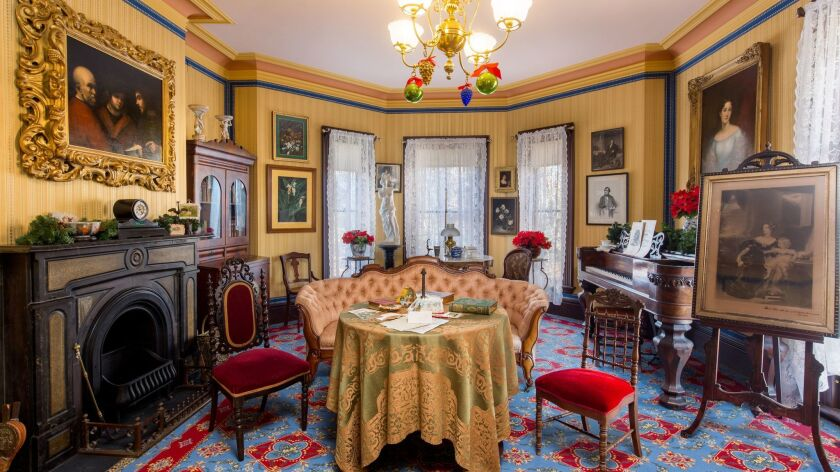 A photograph of the interior of the back parlor of Harriet Breecher Stowe's house. Credit: Harriet B