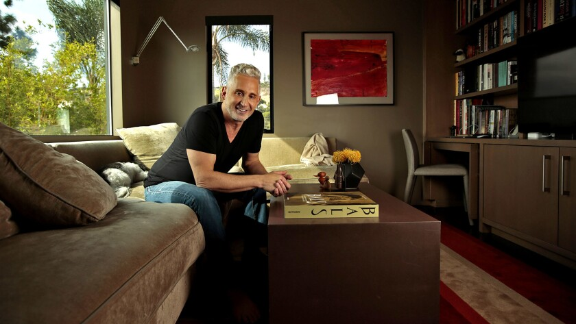 Fashion designer David Meister in his favorite room, the den. David has a celebrity following that includes Tina Fey, Jane Fonda, Sofia Vergara, and more.