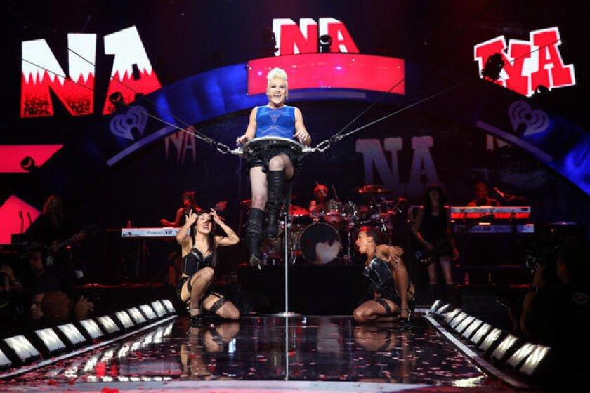 Pink performing in Las Vegas in 2012.