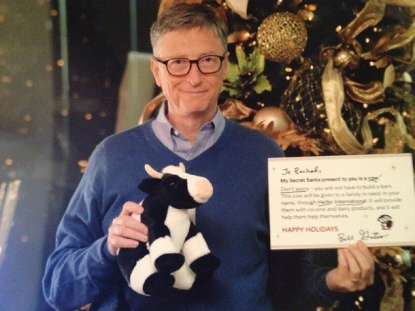 Bill Gates participated in a Reddit Secret Santa program, surprising the user he was matched with by donating to Heifer International in her name.