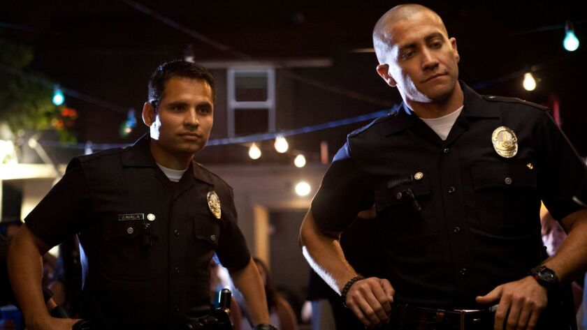 Mike Zavala-MICHAEL PENA and Brian Taylor-JAKE GYLLENHAAL, in a scene from the movie End of Watch.