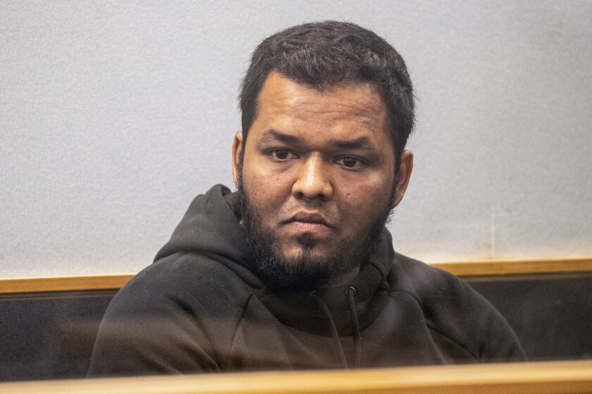 Ahmed Aathill Mohamed Samsudeen in an Auckland, New Zealand, courtroom in 2018.