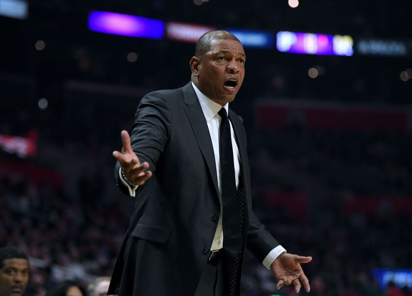 Clippers coach Doc Rivers argues a call on the sideline.