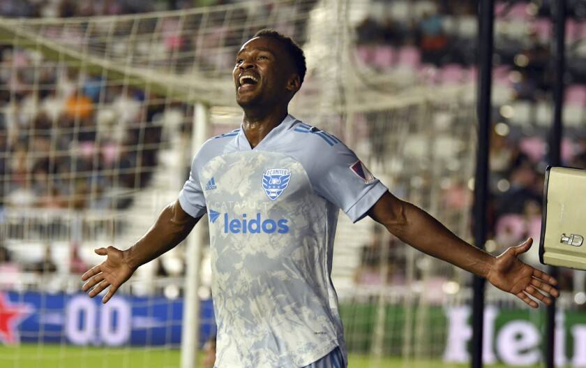D.C. United forward Ola Kamara celebrates a goal against Inter Miami during the second half of an MLS soccer match Saturday, May 29, 2021 in Fort Lauderdale, Fla. (AP Photo/Jim Rassol)