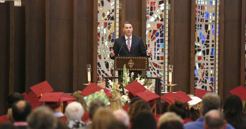 Keynote speaker Todd Reynolds at the annual Interfaith Baccalaureate Service for the class of 2019 at St. Bede the Venerable Church in La Canada Flintridge on Monday, June 3, 2019. About 65 students from area schools, but mostly La Canada High School, attended the event, sponsored by the La Canada Flintridge Interfaith Ministerial Association.