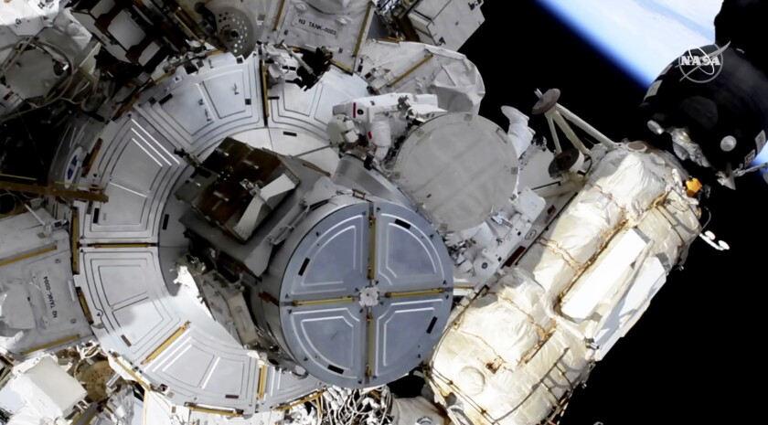 The International Space Station is being outfitted with new, more powerful solar panels.