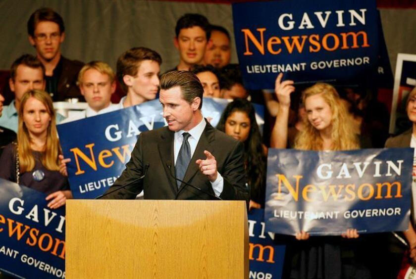 Gavin Newsom comparecía cuando era alcalde de San Francisco durante el mitin electoral Vote 2010 celebrado en la Universidad Estatal de San José, en California (EEUU), el 17 de octubre de 2010. EFE/Archivo