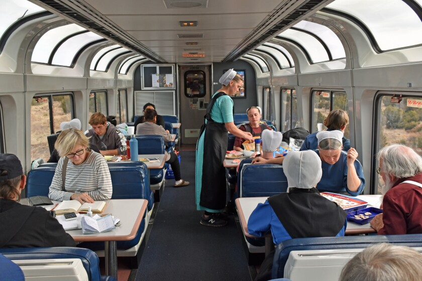 The Sightseer Lounge on the Southwest Chief is not only for watching the sights go by.
