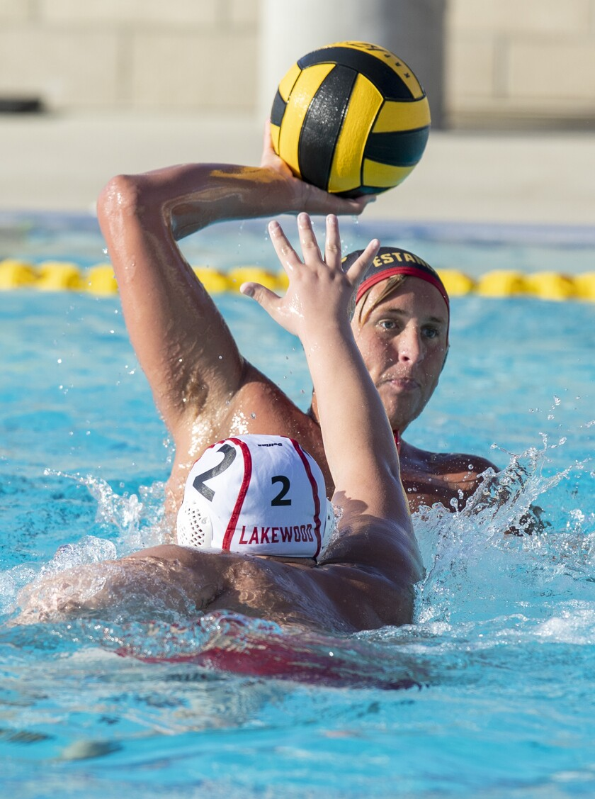 Estancia's Spencer Bantel, shown playing in March, scored four goals on Thursday for the Eagles boys' water polo team.