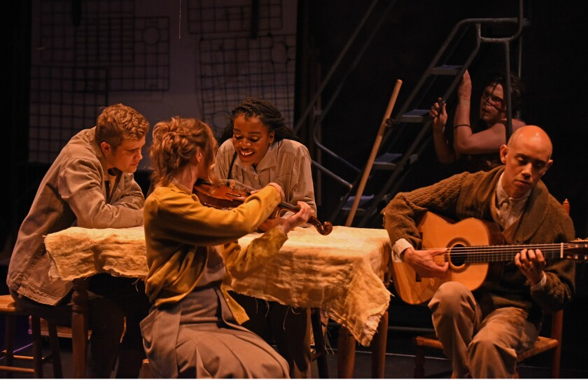 """""""Frankenstein"""" actors double as musicians and embed themselves in the scenes. From left, Lukas Papenfusscline, Yvette Holzwarth, Katherine Washington and Philip Graulty (DeLacey)."""