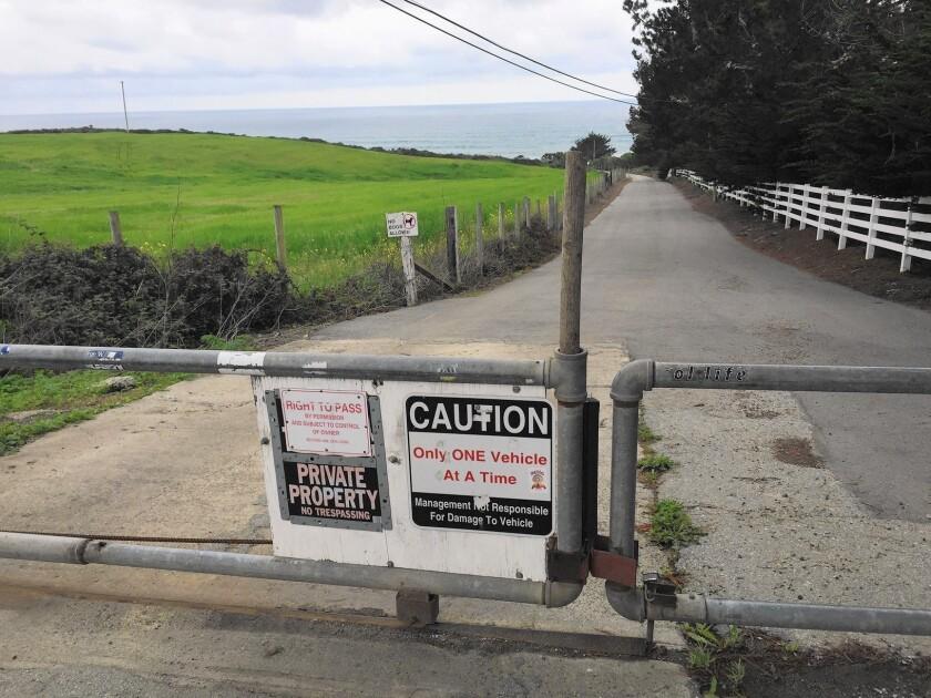 Blocked access at Martins Beach