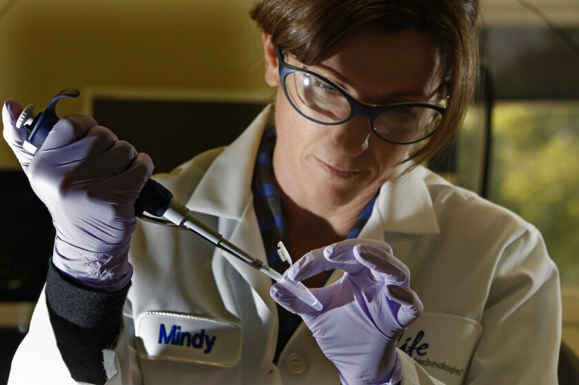 Molecular biologist Mindy Landes prepares a DNA sample for analysis in a Personal Genome Machine at Life Technologies in Carlsbad, Calif.