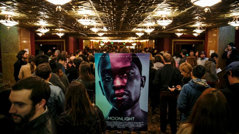 The scene Tuesday at the Million Dollar Theatre in downtown L.A.