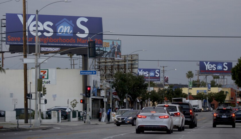 """Vote Yes on Measure S"" billboards along Crenshaw Boulevard."