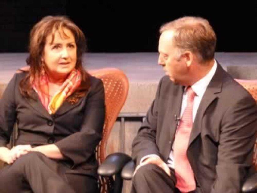 Panelists Pamela Itkinansari and Santiago Horgan.