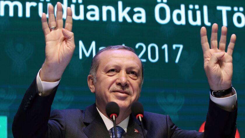 Turkey's President Recep Tayyip Erdogan addresses a meeting March 3 in Istanbul.
