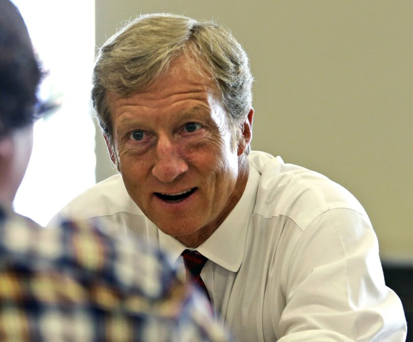 FILE - In this Sept. 25, 2013, file photo, businessman Tom Steyer talks during a meeting to announce the launch of a group called Virginians for Clean Government at Virginia Commonwealth University in Richmond, Va. Steyer electrified the political world with his promise to raise and spend as much as $100 million to make climate change an issue in this year's midterm elections. The former hedge fund manager is running out of time. On pace to raise far less money, Steyer's group has a relatively minor presence on the air. He now says his biggest impact will be an old-fashioned, get-out-the-vote ground game. (AP Photo/Steve Helber, File)