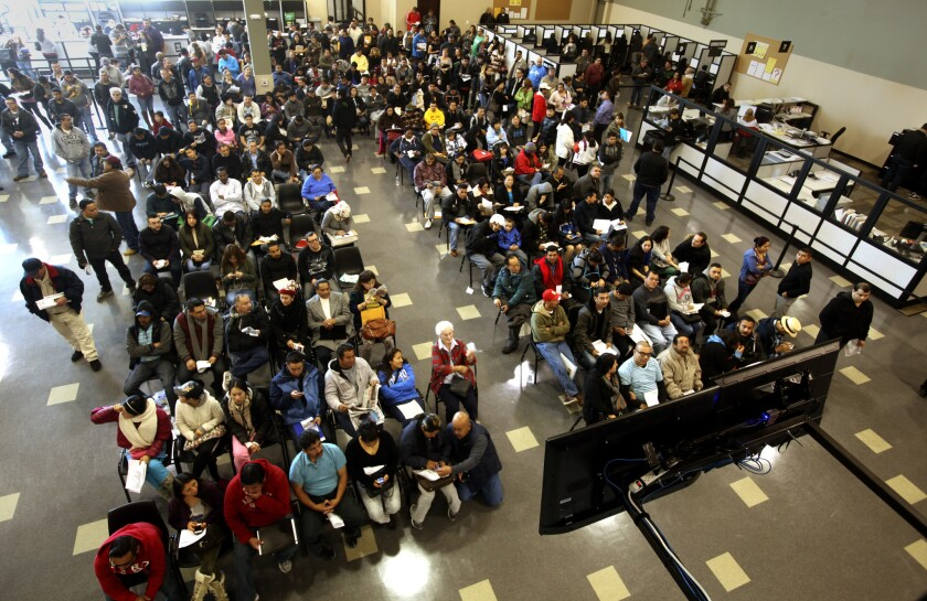 The busy Stanton, Calif. DMV office on Jan. 2.