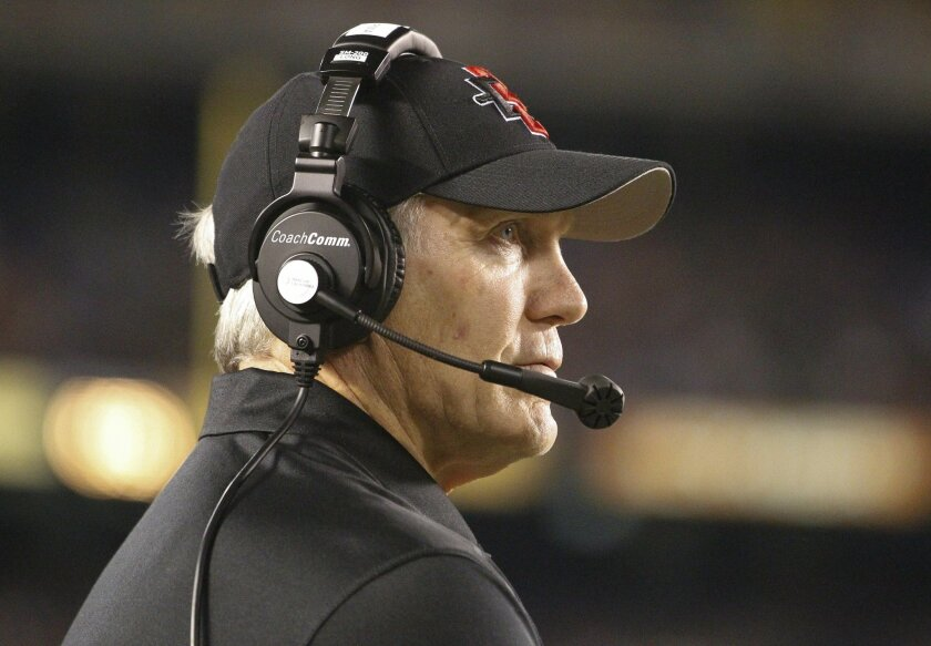 Aztecs' coach Rocky Long watches the clock run out at the end of the fourth quarter of the Aztecs game against Idaho at Qualcomm Stadium in San Diego on Saturday.