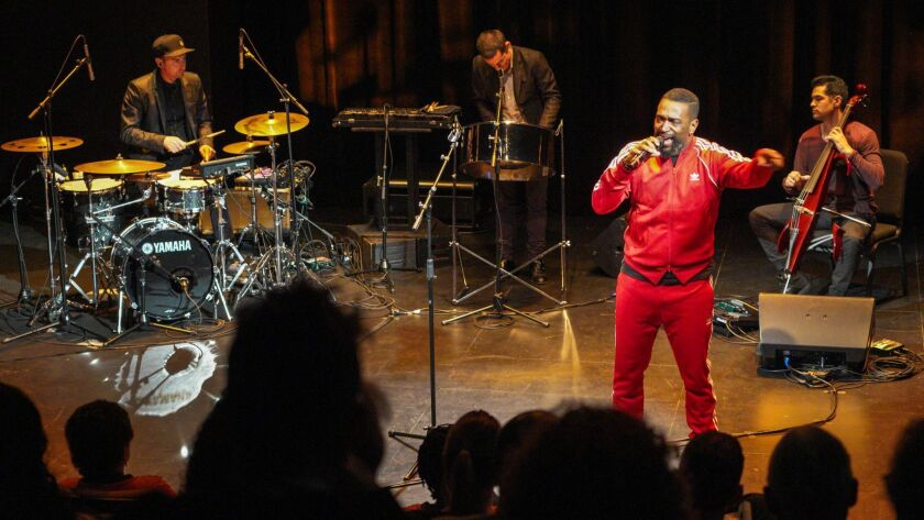 """""""(M)iyamoto Is Black Enough"""" featured, from left, drummer Sean Dixon, steel pan player Andy Akiho, poet Roger Bonair-Agard and cellist Jeffrey Zeigler at the Wallis on Thursday night."""