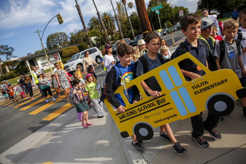 Students take a 'Walking School Bus' to class in Redondo Beach, just one of the ways the city is encouraging residents to live heathier lives.