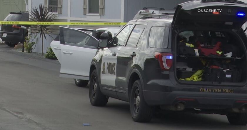 Chula Vista police investigate after a person was shot while chasing thieves after a home invasion on Orange Avenue on Sunday morning.