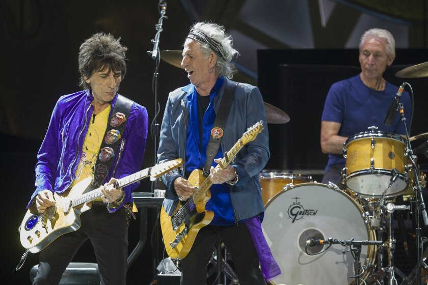 The Rolling Stones begin their US Tour Sunday night at Petco Park downtown. LtoR Ron Wood, Keith Richards and Charlie Watts during the bands Petco Park performance.