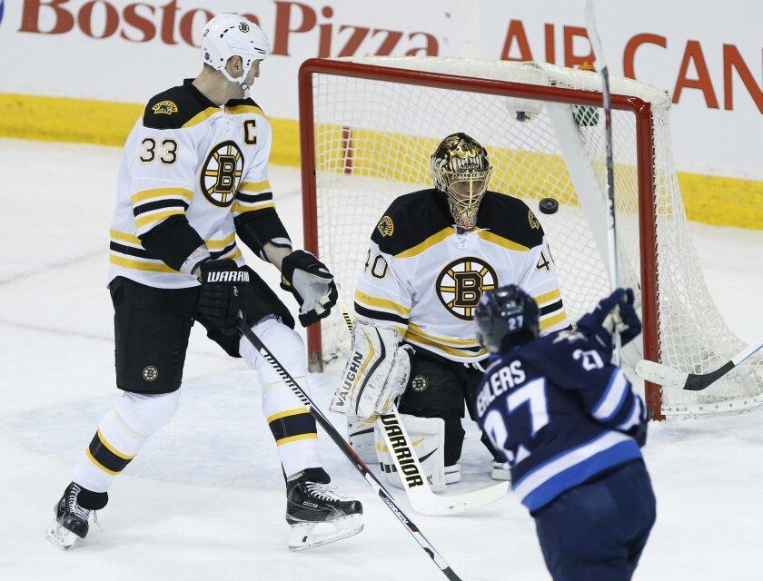 Winnipeg Jets' Nikolaj Ehlers (27) scores on Boston Bruins goaltender Tuukka Rask (40) as Zdeno Chara (33) defends during the first period of an NHL hockey game Thursday, Feb. 11, 2016, in Winnipeg, Manitoba. (John Woods/The Canadian Press via AP)