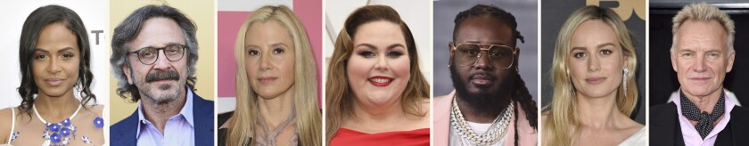 This combination photo of celebrities with birthdays from Sept. 26-Oct. 2 shows Christina Milian, from left, Marc Maron, Mira Sorvino, Chrissy Metz, T-Pain, Brie Larson and Sting. (AP Photo)