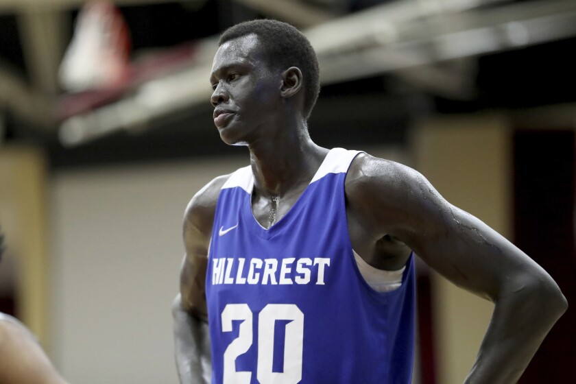 Hillcrest Prep's Makur Maker is seen against Sunrise Christian Academy during a game at the Hoophall Classic on Jan. 19.