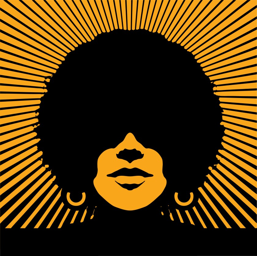 A woman's head in silhouette with sunbeams.