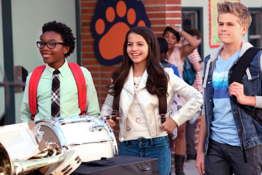 "Jaheem Toombs, left, Isabela Moner and Owen Joyner are best friends with a bucket list in Nickelodeon's ""100 Things To Do Before High School."""