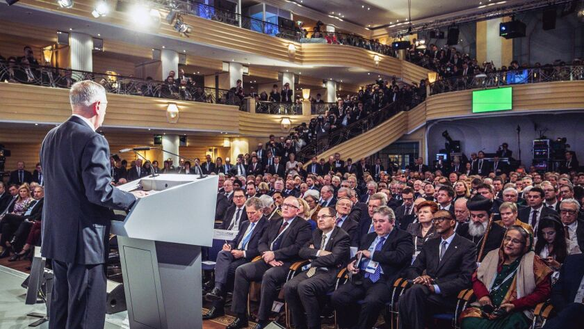 US Secretary of Defense James N. Mattis delivering an opening statement during Day 1 of the Munich Security Conference in Germany.