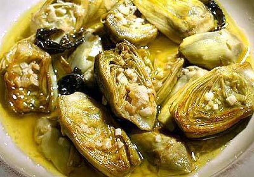 Artichokes with garlic and mint